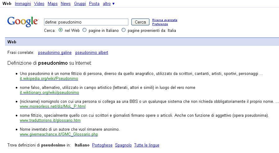 Dizionario-italiano--google