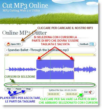 tagliare mp3 Online MP3 Cutter per tagliare mp3 dal Web