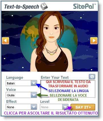 Trasforma il testo in voce audio con text to speech