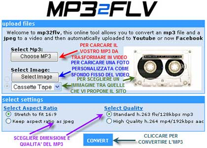 Mp32flv: converti mp3 in video e caricali su YouTube e Facebook in un click