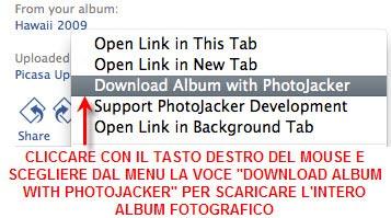 photojacker per scaricare album fotografici da facebook