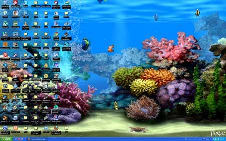 Stupendo wallpaper animato di un acquario sul vostro for Sfondo animato pesci