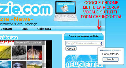 riconoscimento vocale di Google Chrome