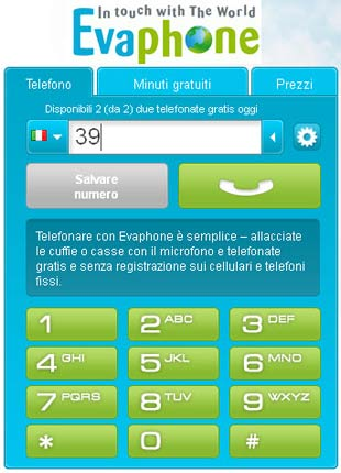 Telefonare gratis da internet con Evaphone
