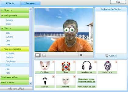 manycam. mettere effetti alla webcam