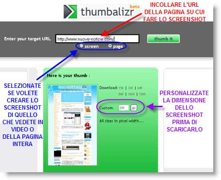 Thumbalizr: crea screenshot online di pagine web