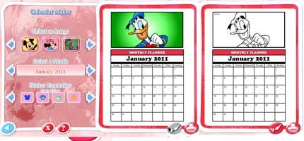 Crea calendario Disney 2011 per bambini da colorare