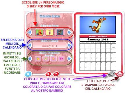 Crea calendario 2011 per bambini con Disney
