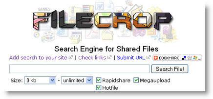 FileCrop: motore di ricerca per Rapidshare, Megaupload e Hotfile