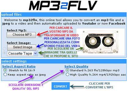 Mp32flv: converti mp3 in video e caricali su YouTube e Facebook in un click