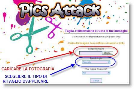 Pics Attack: taglia fotografie online