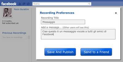 mymic messaggi vocali su Facebook