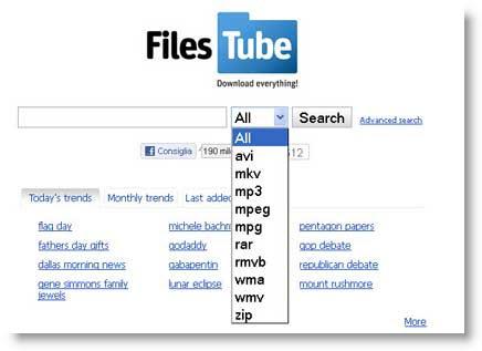 FilesTube: motore di ricerca per file condivisi