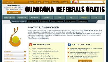 Guadagnolandia per trovare gratuitamente Referrals ai tuoi programmi di guadagno online