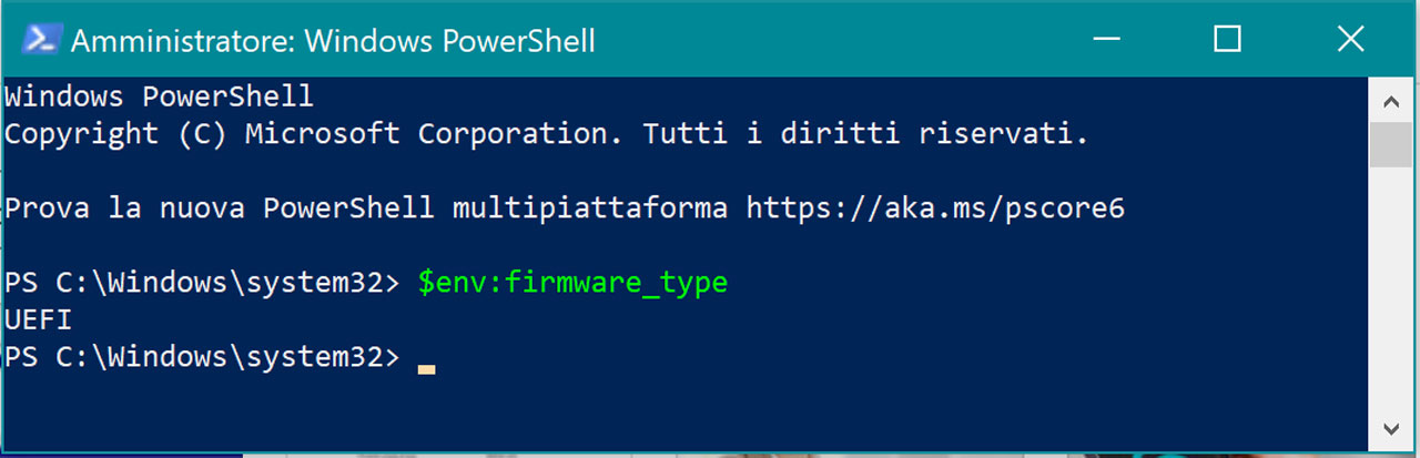 Come Verificare Se Il Tuo PC Utilizza UEFI o BIOS: WIndows Power Shell